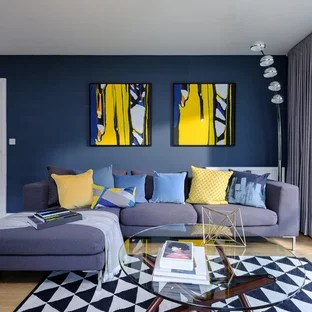 living room blue decorating ideas contemporary designs india and yellow photos houzz example of a mid sized trendy enclosed light wood floor brown