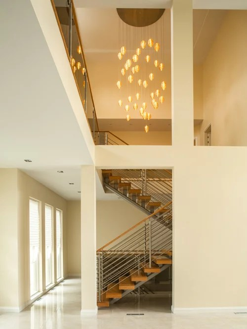 Cocoon Custom Stairwell Chandelier Blown Glass Vaulted
