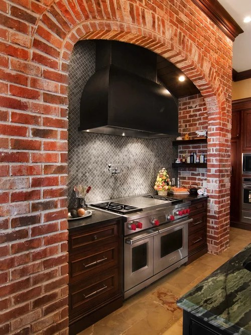 mosaic backsplash kitchen birch cabinets brick home design ideas, pictures, remodel and decor
