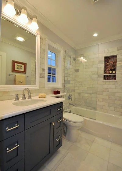 Transitional Bathroom by CCForteza