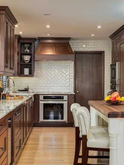 kitchen island with stove cheap small herringbone subway tile | houzz