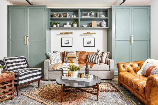 Transitional Family Room by Osborne Construction