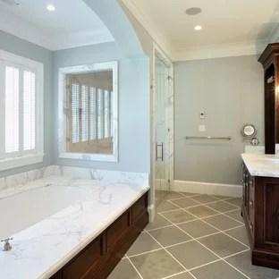 grey wood floor bathroom
