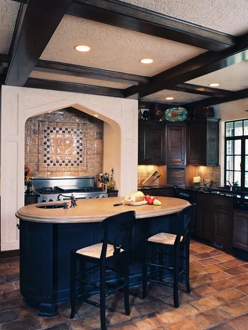 Backsplash For Dark Cabinets And Light Countertops Oval Island | Houzz