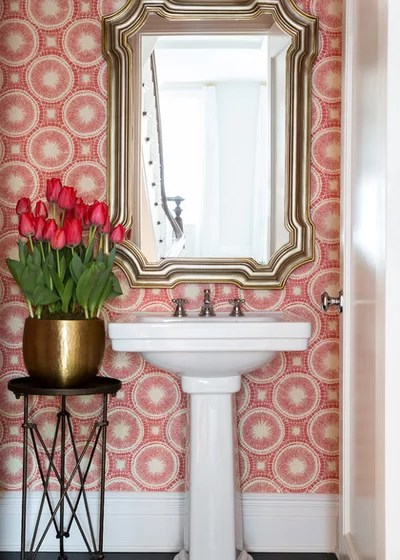 Transitional Powder Room by Chango & Co.