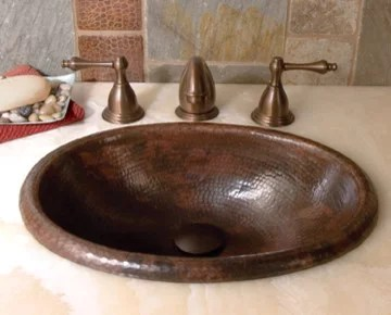 hand hammered copper bathroom sinks by native trails