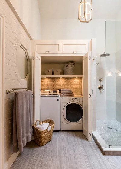 Transitional Laundry Room by Two Birds Design