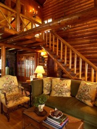 Log Cabin Stair Home Design Ideas, Pictures, Remodel and Decor