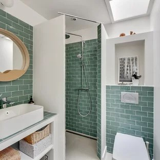 Salle de bain avec un carrelage vert  Photos et ides dco de salles de bain