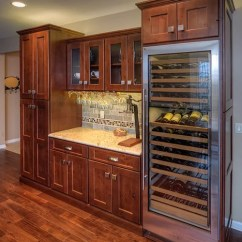Kohler Undermount Kitchen Sink Full Circle Brush Knotty Alder Cabinets | Houzz