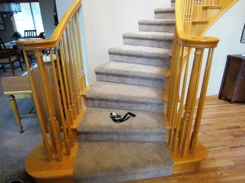 Painting Oak Staircase What To Paint White What To Paint Black | Oak Steps For Stairs | Wood Floor | Iron Baluster | Rounded | Stained | Closed Tread