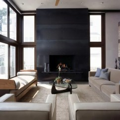 How To Decorate My Living Room With Black Sofas Blue Brown Decor Blackened Steel Fireplace Surround | Houzz