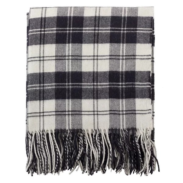 Plaid Design Wool Blend Throw Blanket