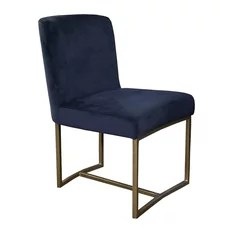 houzz dining chairs contemporary steel chair walmart low back artefac velvet with rustic bronze frame blue
