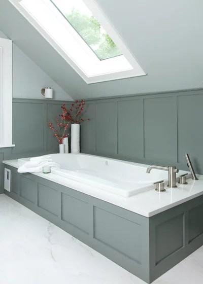 Skylights and Glass Tile Transform Attic into to Spa-Like Bath