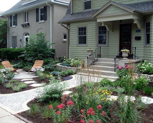 rock and mulch front yard landscaping