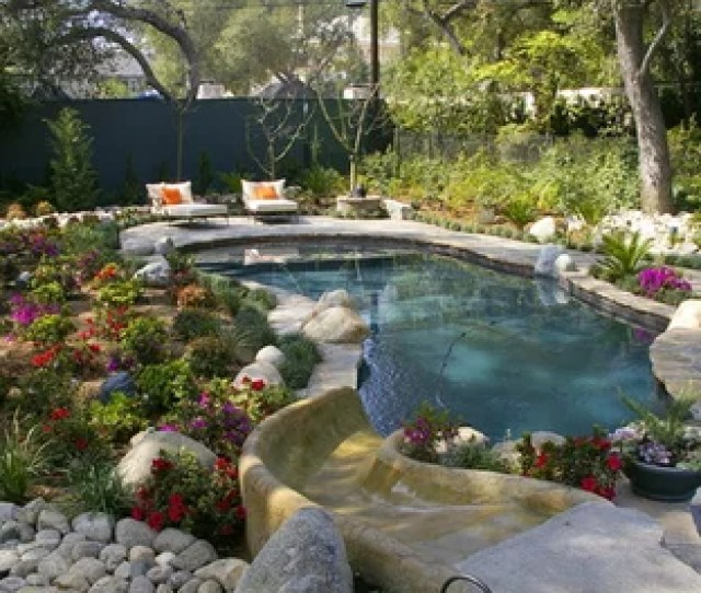 Inspiration For A Large Timeless Backyard Stone And Custom Shaped Water Slide Remodel In Los