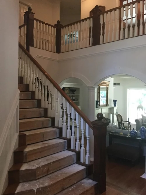 Stair Remodel Opinion White Wood Or Black Wrought Iron Spindles | Wrought Iron Banister Spindles | Metal | Wooden | Double Basket | Cast Iron | Type