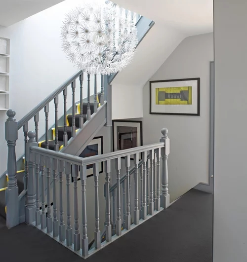 Gray Painted Stair Rail Crazy Good Or Crazy Bad   Grey And White Banister   Furniture   Light Wood Banister   Runner Designsponge   Green White   Indoor