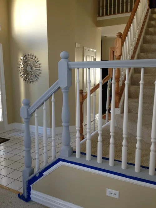What Color For Bottom Of Banister White Or Black To Match What We   Top Of Stairs Banister   Indoor   Rail   Barn Wood   Residential   Different Color