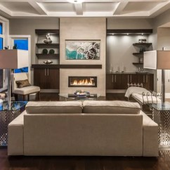 Living Rooms With Dark Gray Walls Basement Fireplace Feature Wall Ideas, Pictures, Remodel And Decor