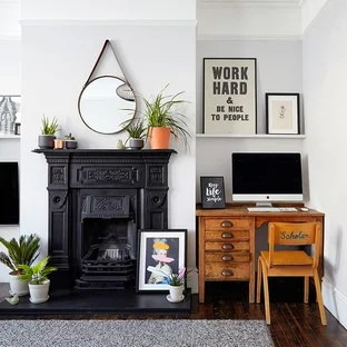 living room desk ideas to decorate a small apartment home office corner computer photos houzz inspiration for mid sized scandinavian formal and open concept dark wood floor
