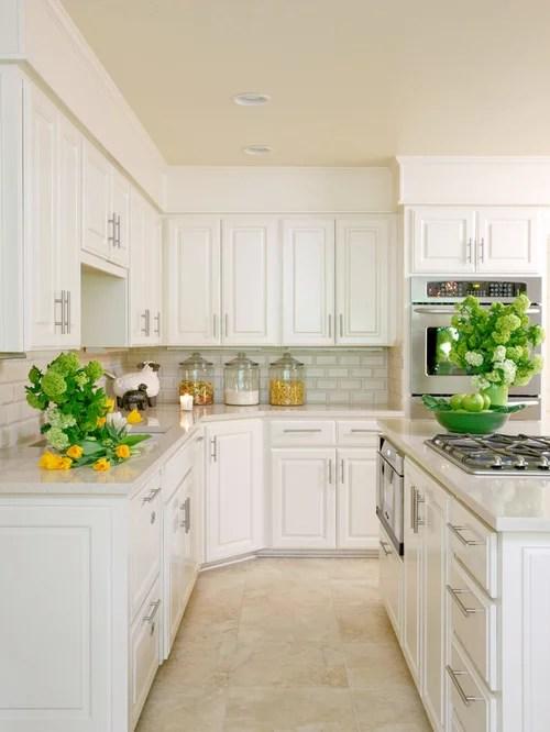 Travertine Flooring With White Cabinets