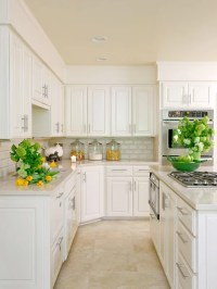 Travertine Flooring With White Cabinets