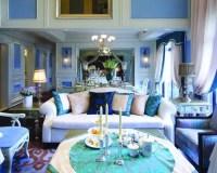 Mediterranean Blue Living Room Design Ideas, Renovations ...