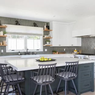 wall tile kitchen yellow and gray curtains houzz mid sized transitional remodeling inspiration for a l