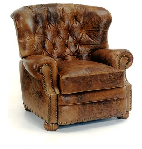 swivel chair brown tufted arm leather recliners & rocker