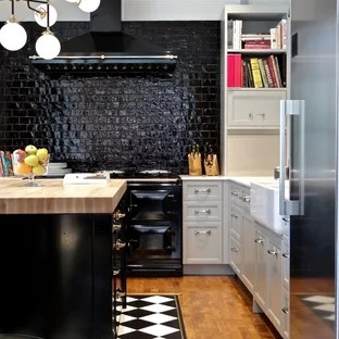 black and white tile kitchen cabinets for sale craigslist floor ideas photos houzz small transitional example of a l shaped medium tone wood