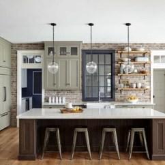 Brick Kitchen Backsplash Comfort Mats Ideas Houzz Large Farmhouse Open Concept Inspiration Cottage Light Wood Floor