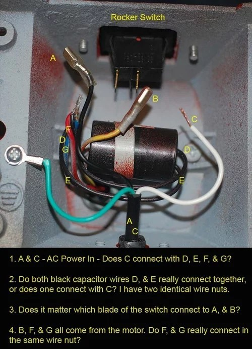 fan motor capacitor wiring diagram nissan almera 2003 radio rewiring a bench grinder dave