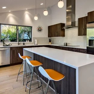 kitchen backsplash glass tiles country style table tile houzz example of a mid sized 1960s l shaped light wood floor and brown