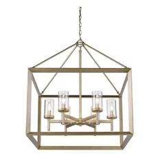 1st Avenue Yale 6 Light Chandelier White Gold With Clear Glass Chandeliers
