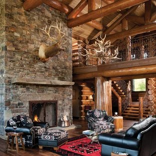 cabin style living room extension cord small log ideas photos houzz mountain open concept photo in boise with a standard fireplace and stone