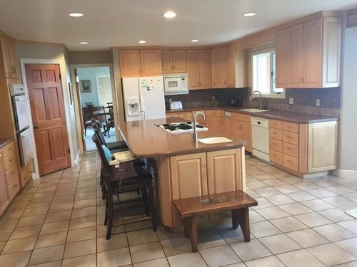 blonde kitchen cabinets cabinet handles black how do i remodel and keep maple