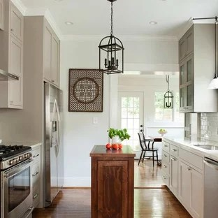 small kitchen island pull up cabinets ideas houzz transitional designs example of a galley design in atlanta with an undermount