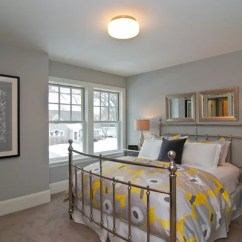 Gray And Yellow Accent Chair Bedroom Corner | Houzz