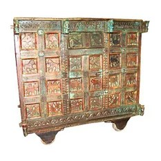 Mogul Interior - Consigned Indian Bar Chest On Wheels Console Sideboard Damchiya Buffets - Jaipur style buffet sideboard Manjoosh. Beautifully hand crafted and made of teak an 18th century chest on wheels.