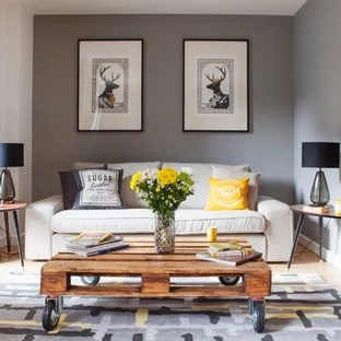 grey yellow living room sliding doors and ideas photos houzz medium sized traditional formal in london with walls light hardwood flooring