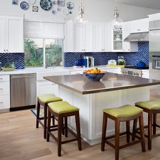 square kitchen island with trash can houzz example of a transitional l shaped design in san diego white cabinets