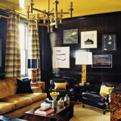Black And Gold Living Room Ideas Decorating For With Light Wood Floors Photos Houzz Example Of A Mid Sized Trendy Open Concept Design In New York