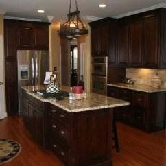 Kitchen Cabinets Portland Island With Trash Can Tumbled Stone Backsplash | Houzz