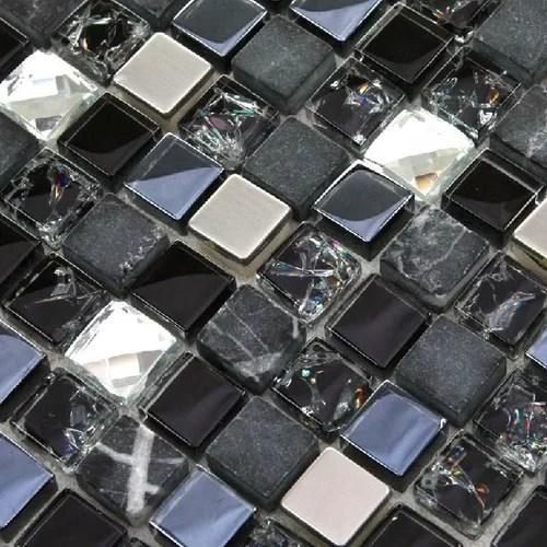 kitchen backsplash wallpaper cement sink black silver tile glitter stone inner crackle crystal ...