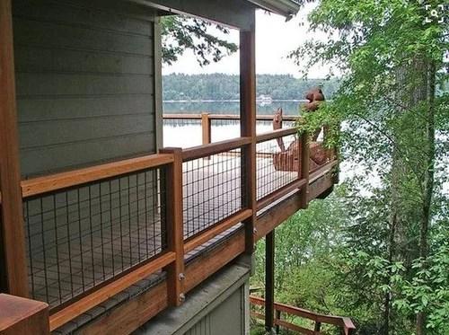 Hogwire Deck Railing Ideas   Hog Wire Stair Railing   Outdoor Stair   Deck Railing   Thin Picket Deck   Backyard   Indoor