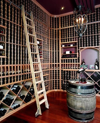 Transitional Wine Cellar by Chuck Mills Design