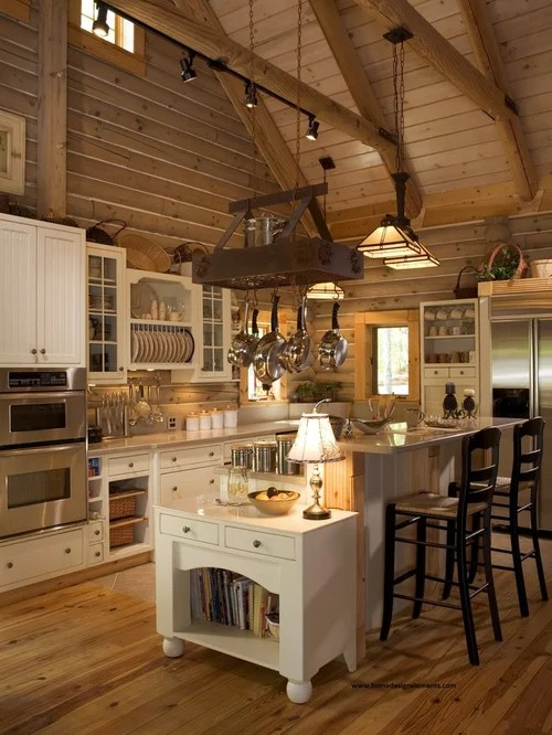 Log Homes Kitchens Houzz
