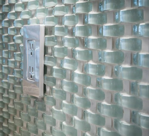 wavy glass tile as backsplash